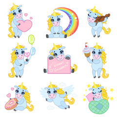 Cute Unicorn Cartoon Set
