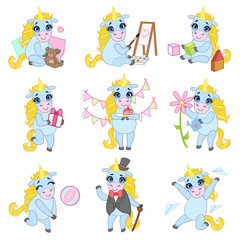 Sweet Unicorn Cartoon Set