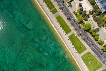 Aerial view of  Geneva city leman lake waterfront in Switzerland