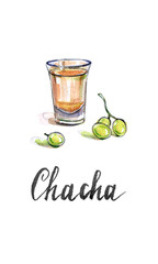 "Glass of georgian vodka ""chacha"" with grape"