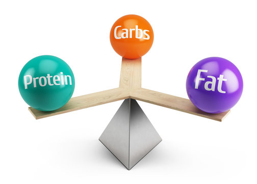 good balanced diet concept - fats carbs and protein