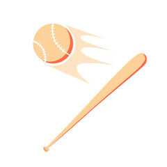 Baseball and bat isolated on white background