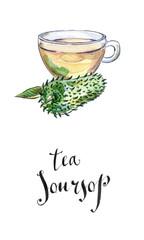 """Glass Cup of """"Soursop"""" """"Ceilona"""" Tea, Prickly Custard Apple"""