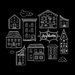 Collection of doodled houses, hand drawn sketch houses, cute doodle black and white background with place for text, lettering My Home, EPS 8