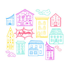 Collection of doodled houses, hand drawn sketch houses, cute doodle background with place for text, lettering My Home, EPS 8