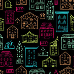 Seamless hand-drawn pattern, cute colorful background with houses, multicolored nice buildings, good for design fabric, wrapping paper, print design, postcards, EPS 8