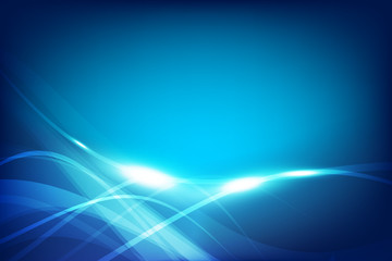 Abstract background blue wave curve and lighting element vector