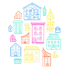 Set of doodle houses, hand-drawn sketch house, cute colorful background, EPS 8