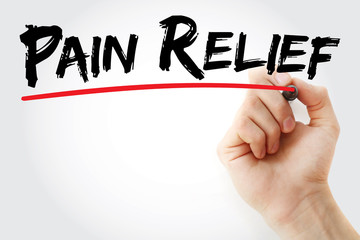 Hand writing Pain Relief with marker, health concept background Wall mural