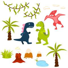 Dinosaur and jungle tree clipart set. Pterodactyl, t-rex, brontosaurus, palm, lake, liana and volcano. Dino clip-art for kids.