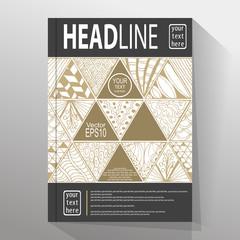 Stock vector abstract triangle brochure flyer design.