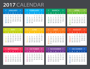 ... : 2017 Calendar - illustrationVector template of color 2017 calendar