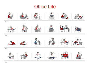 Programmers at work, office life, sketch for your design