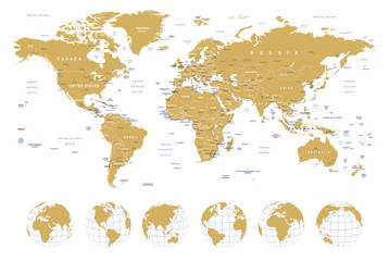 Foto op Plexiglas Wereldkaart Golden World Map - borders, countries, cities and globes - illustrationHighly detailed vector illustration of world map.