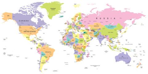 Foto op Plexiglas Wereldkaart Colored World Map - borders, countries and cities - illustrationHighly detailed colored vector illustration of world map.