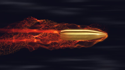 Flying bullet with trails. 3d render