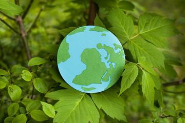 Эко символ, глобус в листьях