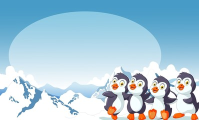funny four penguins with ice sky landscape background