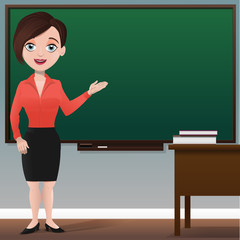 Young female teacher with blank chalkboard