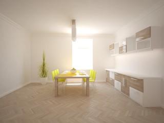 white interior design of kitchen -3D illustration
