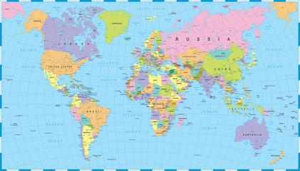 Photo sur Plexiglas Bestsellers Colored World Map - borders, countries and cities - illustrationHighly detailed colored vector illustration of world map.