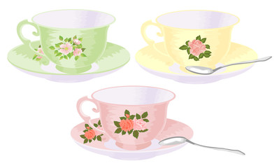 Vector set of cups of tea in vintage style.