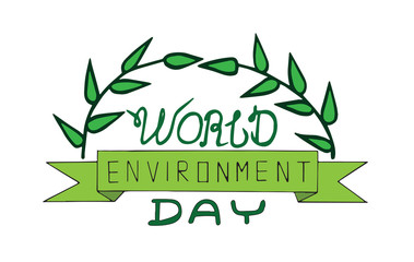 World environment day text card with leaves