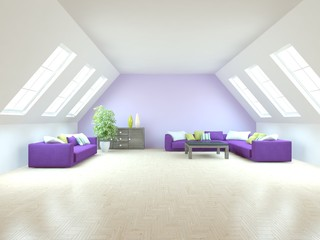white interior design of living room -3D illustration