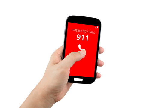 hand holding black smartphone with emergency number 911 on the screen isolated on white background with clipping path