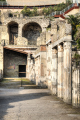 The ruins of Herculaneum excavation in Ercolaono near Naples, Italy