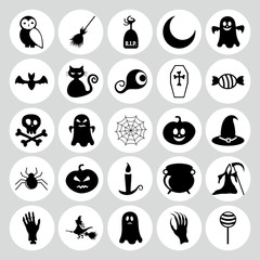 Set of black icons on white background of halloween