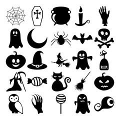 Set of black icons on white background of halloween