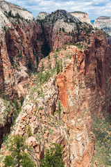 View of Zion National Park from top of Angel's Landing, Utah, USA