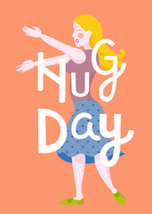cartoon hug day poster