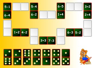 Exercises for children - needs to solve examples and draw the remaining dominoes at the correct places to close the circuit. Developing skills for counting. Vector image.