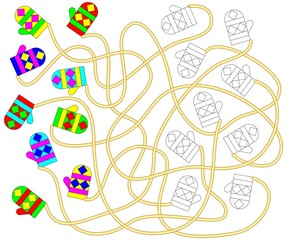 Exercise for children - need find the pair for each mitten and paint it in relevant ornament. Developing children skills for drawing and coloring. Vector image.