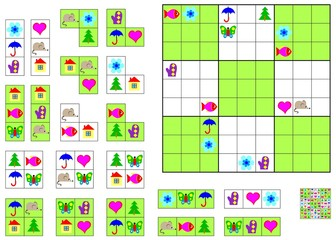 Logic Sudoku game - need to complete the puzzle using the remaining details. Vector image.