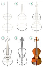 Page shows how to learn step by step to draw a violin. Developing children skills for drawing and coloring. Vector image.
