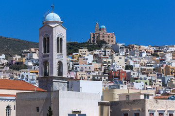 Panorama with belfry of Churches in town of Ermopoli, Syros, Cyclades Islands, Greece