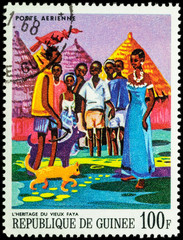 Heritage of the old Faya - scene from African Legends on postage