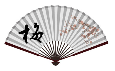Ancient Traditional Chinese fan with wintersweet