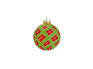 Red and Green Christmas Ornament Isolated on White Background