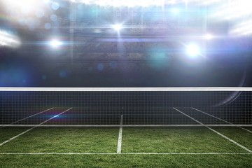 Composite image of digital image of tennis net on a white backgr