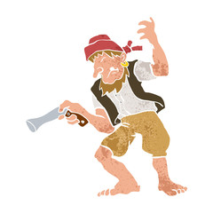 Pirate with Gun Cartoon Illustration