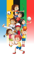 Poster of children doing different sports