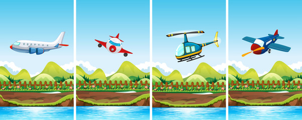 Four scenes of airplanes flying