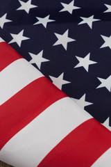 Diagonally folded USA flag closeup
