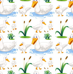 Seamless background with duck in the pond