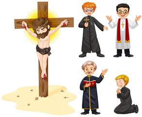 Priests and jesus figure