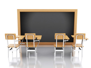 3d classroom with chairs and chalkboard.